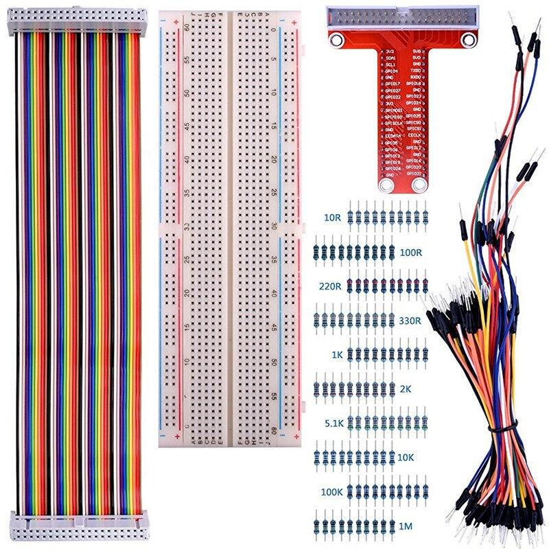 830 галстук-точек Макет + 65 шт. джемпер Провода + GPIO T Тип плата расширения + 40pin Радуга кабеля + 100 шт. сопротивление K73 для pi3 ...