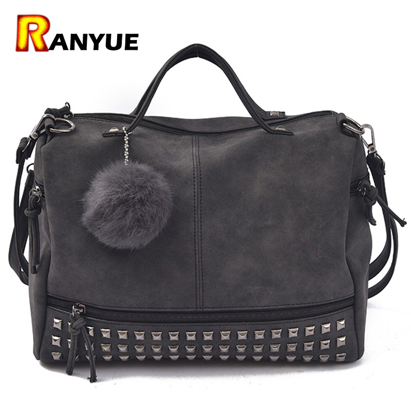 2016 New Arrive Rivet Women Shoulder Bag With Fur Ball Nubuck Leather Handbags Vintage Women Handbag Motorcycle Shoulder Bags
