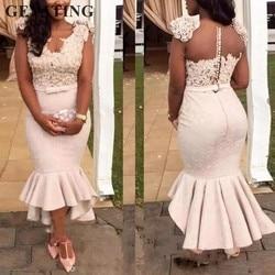 Blush Roze Kant Mermaid Bruidsmeisje Jurken 2019 Afrikaanse Formele Party Dress voor Bruiloft Thee Lengte Hoog Laag Bruidsmeisje jassen