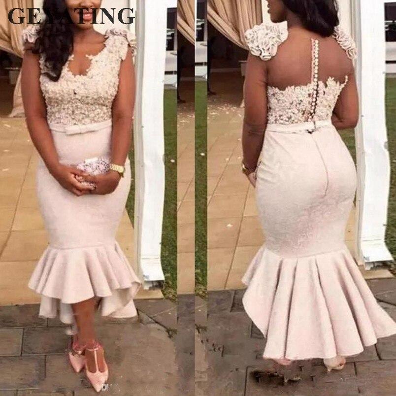 Blush rose dentelle sirène robes de demoiselle d'honneur 2019 robe de soirée formelle africaine pour mariage longueur de thé haute basse robes de demoiselle d'honneur