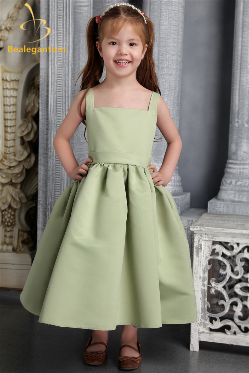 Bealegantom 2019 New Ball Gown   Flower     Girl     Dresses   with Satin Bow   Girls   Pageant Gown First Communion   Dresses   QA1145
