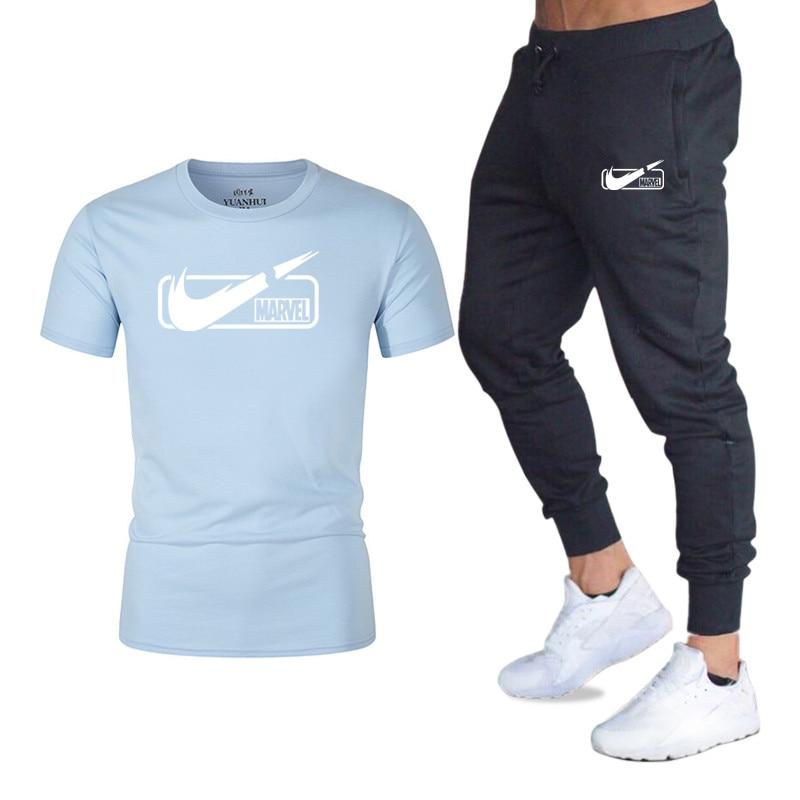 Best Selling Men's T-shirt Fashion Logo Print Trendy Fitness T-shirt + Jogging Trousers Men's Summer Casual T-Shirt Men's M-2XL