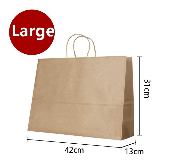 10PCS Large kraft gift paper bag with handle/ horizontal Multifunction wedding party / 42*31*13cm Fashionable cloth paper bags
