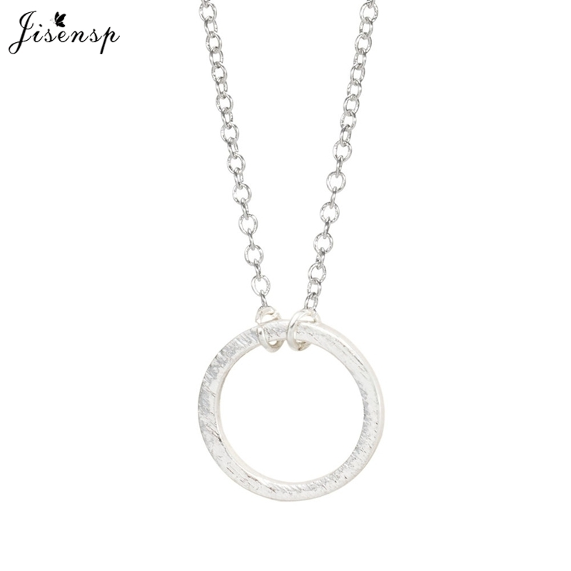 Jisensp 30pcs/lot Fashion Forever Circle Pendant Necklace Women Simple Cute Dainty Daily Wholesale Necklace Party Gifts N083