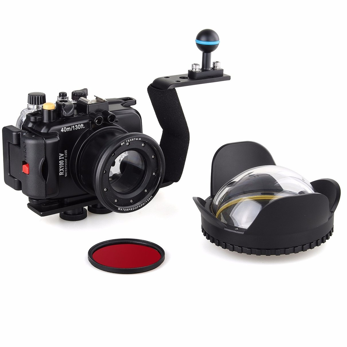 40M/130f Underwater Waterproof Camera Housing Diving Case for Sony DSC RX100 IV + Red Filter + 67mm Fisheye Lens + Aluminium meikon underwater camera housing for sony dsc rx100 iv 40m 130ft red underwater filter wet 67mm aluminum diving handle