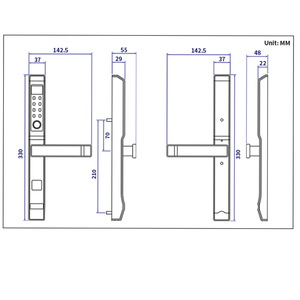 Image 3 - 304 สแตนเลสอลูมิเนียมลายนิ้วมือล็อคสำหรับเลื่อนประตูสีดำ