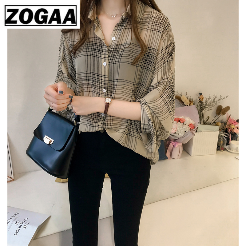 Autumn Long Sleeve Shirt Women Plus Size 3XL 4XL Blouse Shirt Fashion Women Blouses 2019 Striped Plaid OL Blouse Women ZOGAA in Blouses amp Shirts from Women 39 s Clothing
