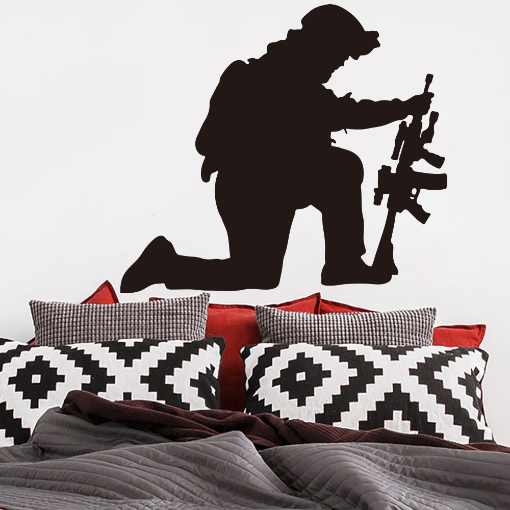 """Military 2 Army Soldier Kneeling Down with Gun Vinyl Wall Decal 16/""""x16/"""""""