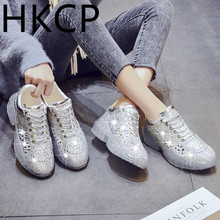 HKCP Fashion 2019 full diamond jelly muffin bottom thickness of slope with the new womens shoe lace C041