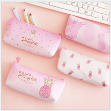 1Pcs Kawaii Pu Pencil Case Pineapple Gift Estuches School Pencil Box Pencil Bag office & school supplies korean Stationery tunacoco japanese kokuyo pc 102 ssort dupont paper pencil bag pencil case kawaii pencil box school office supplies bd1710032