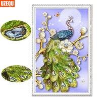 UzeQu Special Shaped Diamond Painting Cross Stitch Full Diamond Embroidery Peacock 3D Diamond Mosaic Painting Rhinestones