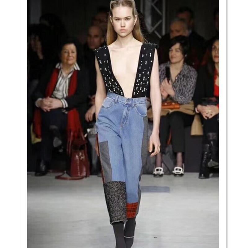 Hohe Qualität Overalls für Frauen 2019 Runway Designer Marke Sicken Patchwork Breite Bein Jeans Strampler-in Overalls aus Damenbekleidung bei  Gruppe 1