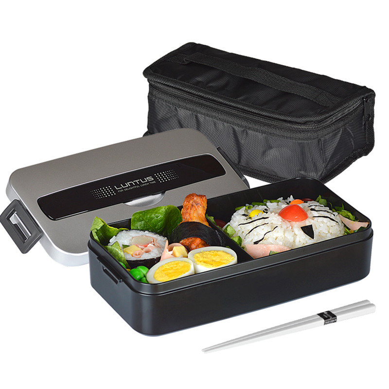 Monolayer PP bento box men can be heated by Microwave with plastic bag Dinnerware Sets