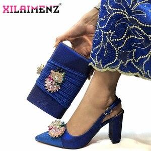 Image 4 - Hoge Kwaliteit Vrouw Luxe Kristal Schoenen En Portemonnee Set Voor Party Nigeriaanse Schoenen Bijpassende Tas Hoge Hakken Bruiloft Schoenen En tas Set
