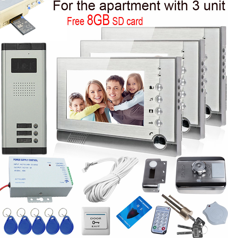 New Video Intercom With Recording Free 8GB SD Memory Cards For 3 Apartments With Rfid Electronic Door Lock Electronic Diy Kit 3 monitors 7 video intercom with reording 8gb tf memory cards intercom door rfid camera for 3 apartments electric strike lock