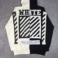 Best quality 2016 winter off white Patchwork black white contrast stripe print long sleeve cotton pullover hoodie