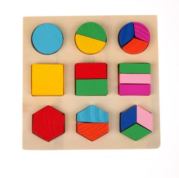 537347eefea8e6 Preschool children s educational wooden jigsaw puzzle cognitive plate  geometry paired board Stacking Building Brain wooden toys