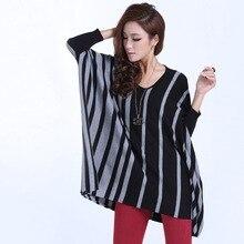 2016 New Autumn and winter fashion women s round neck irregular poncho cloak striped loose female