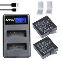 2Pcs AZ16 1 Original Xiaomi Yi 2 4K Battery LCD USB Dual Bateria Charger For XiaoYi
