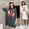 Плюс большой размер blusas feminina весна лето 2017 корейский новый свободные мультфильм печати милые сладкие белые длинные Футболки платья женские A2739