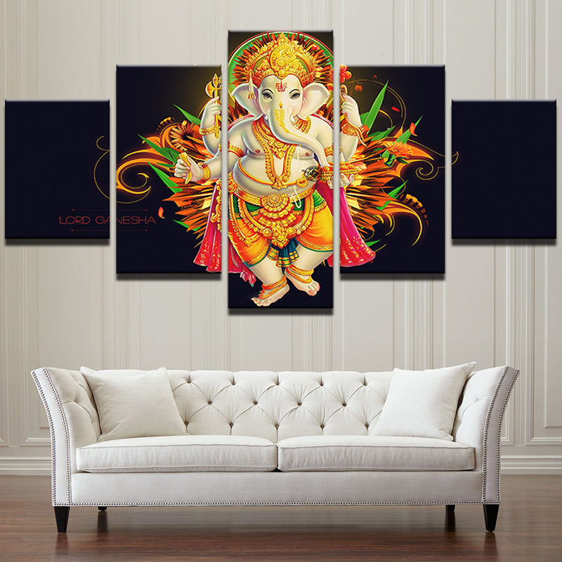 Ganesh Wall Art modular pictures for living room wall art home decor 5 pieces