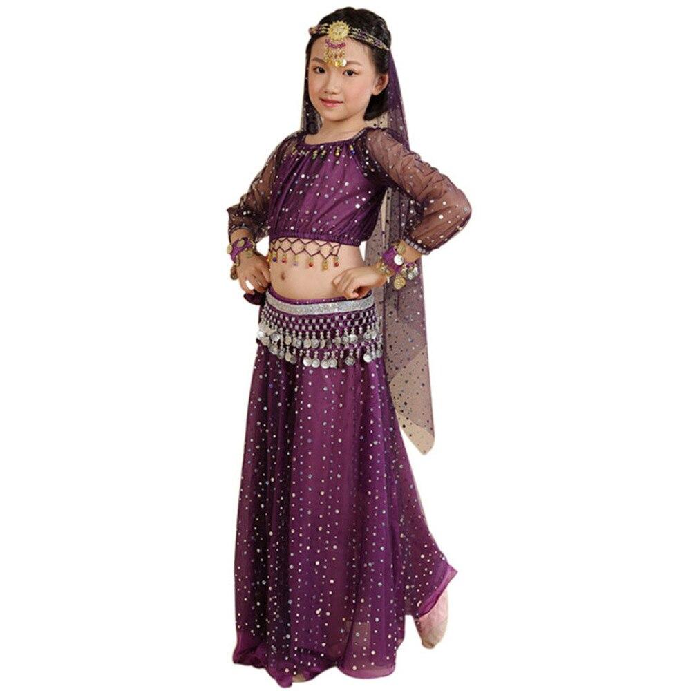 Kids Belly Dancing Girls Belly Dance Costumes Children Oriental Dance Girls Bollywood Indian Performance Dancewear Clothing Set