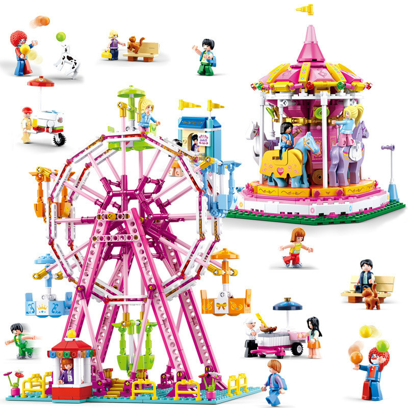City Amusement Park Ferris Wheel Carousel Building Blocks Compatible Legoings City Friends Bricks Toys For Girl Children GiftsCity Amusement Park Ferris Wheel Carousel Building Blocks Compatible Legoings City Friends Bricks Toys For Girl Children Gifts