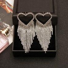 New Love Heart Long Earrings Tassel Chain Metal silver-color Rhinestone Dangle Earring For Women Jewelry