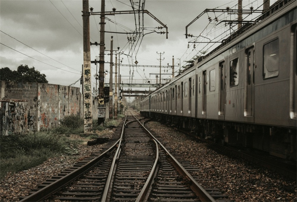Laeacco Train Railway Wire Pole Scenic Photography Backgrounds Customized Photographic Backdrops Props For Photo Studio