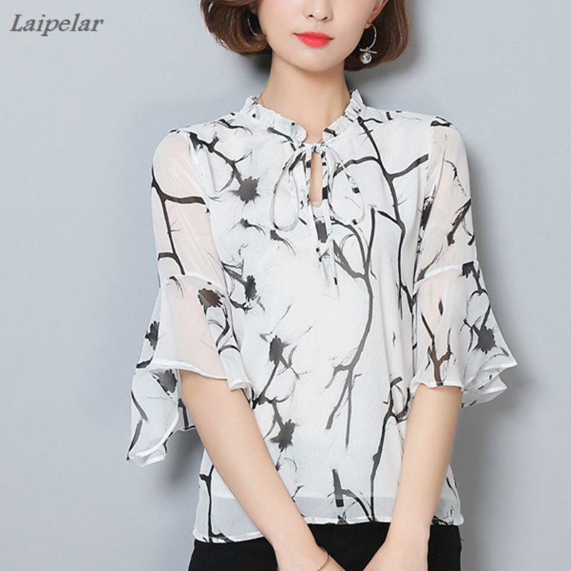 Women Blouse 2018 Chiffon Print Flare Sleeves Blusas Work Shirts Ladies Elegant Bow Blouses Plus Size Female Summer Tops in Blouses amp Shirts from Women 39 s Clothing