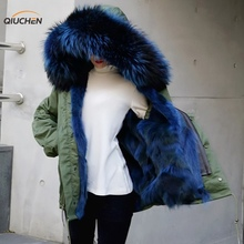 HIgh fashion cold winter outwear 2016 new natural fox real fox fur lined parka with natural big size raccoon fur collar trim