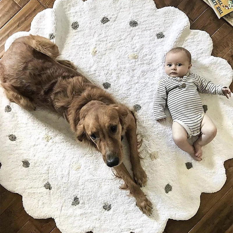 INS High Quality 100% cotton Dot Pattern Lace Mat Baby Play mat tapete carpet Game Mat Blanket Children's Room home decoration-in Play Mats from Toys & Hobbies    1