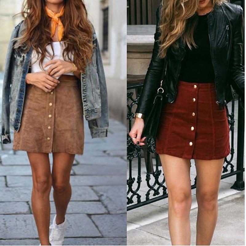 Summer Women Mini Skirt 90's Vintage Short Skirt Winter High Waist A-Line Casual Skirts With Button
