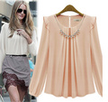 Free shipping Neckline diamond necklace decoration long-sleeved density chiffon unlined upper garment blouse