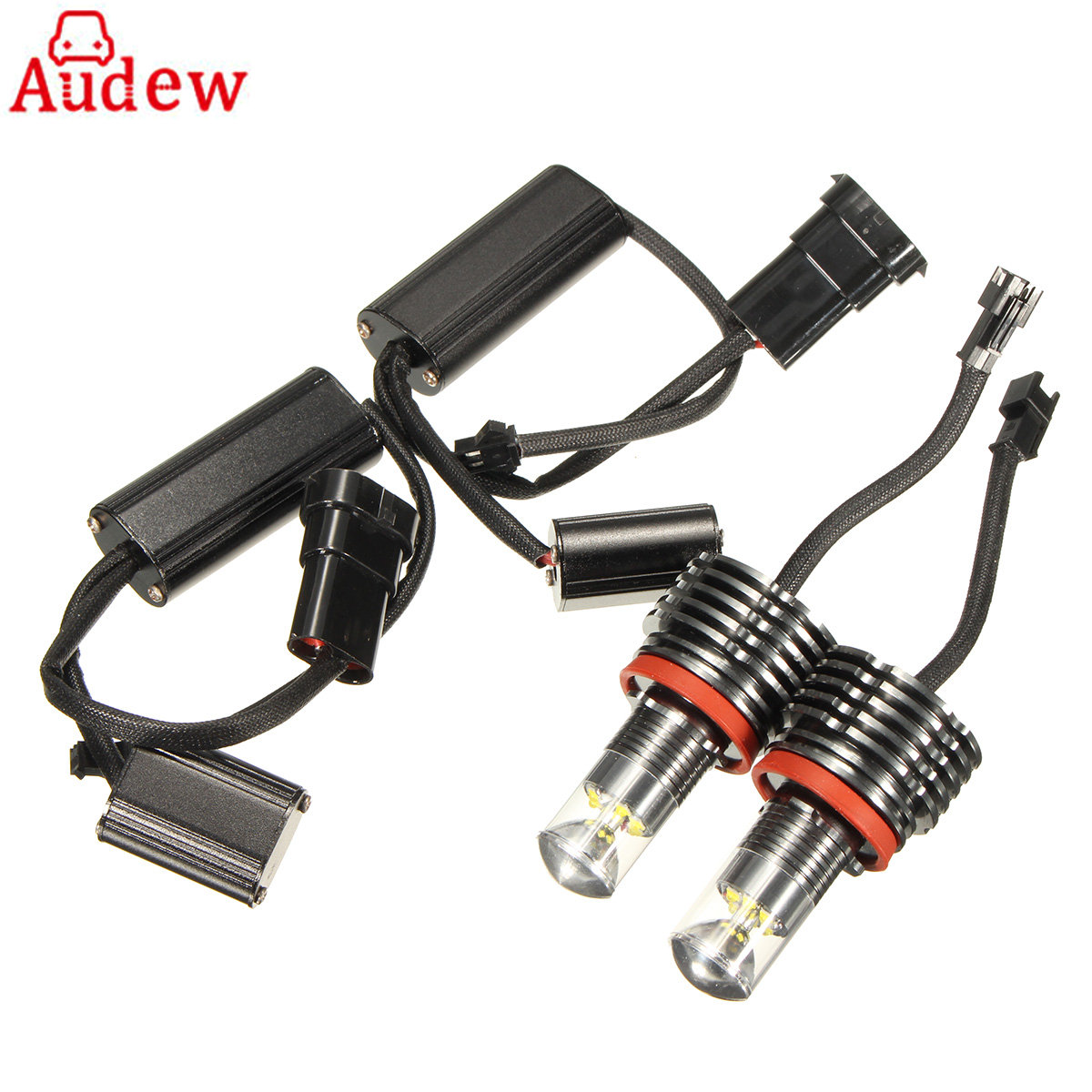 For BMW E92 E90 E89 E82 E71 E70 X5 X6  1Pair 60W H8 Angel Eyes Halo Light LED Headlight Bulbs