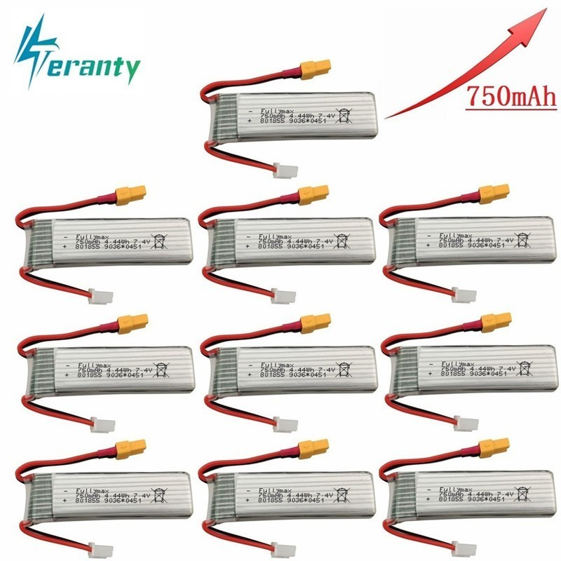 Upgraded Version 750mAh 7.4V Lipo Battery For XK K130 RC Helicopter Spare Parts Accessories 7.4v Drone Battery <font><b>801855</b></font> 10pcs/sets image
