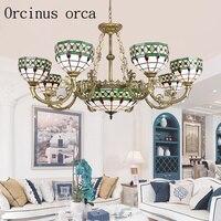 Средиземноморский простой необычная люстра гостиная спальня балкон Европейский стиль творческий цвет стекло потолочный светильник