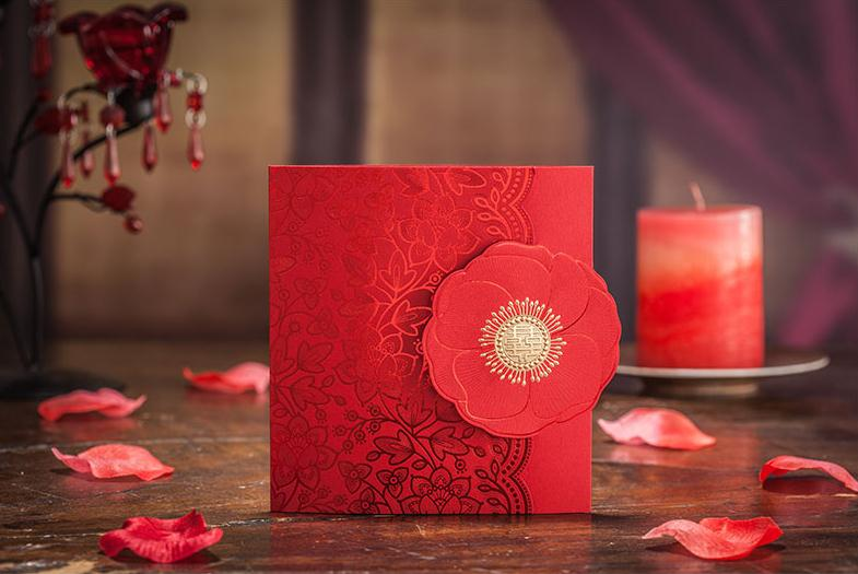 50a Wedding invitations wedding invitations elder parents guest invitation Chinese red hot stamping wedding invitation card 1 design laser cut white elegant pattern west cowboy style vintage wedding invitations card kit blank paper printing invitation