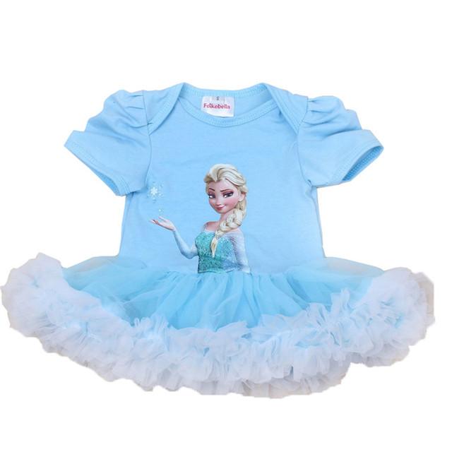 Estilo mameluco del bebé del verano elsa mamelucos Mameluco Corto de la Manga Tutu Vestido de Princesa bebé de la Manera Vestido de La Muchacha Niños Ropa de Escalada