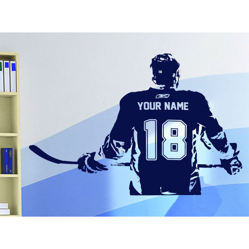 Hockey player home boys room decor wall stickers custom name number personalized wall art decal sticker in wall stickers from home garden on