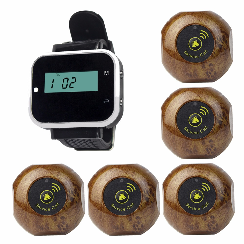 Wireless Waiter Call Pagers Restaurant Calling Paging System For Hotel Cafe KTV Bar With Waterproof Transmitter Button F3229A waiter calling system watch pager service button wireless call bell hospital restaurant paging 3 watch 33 call button