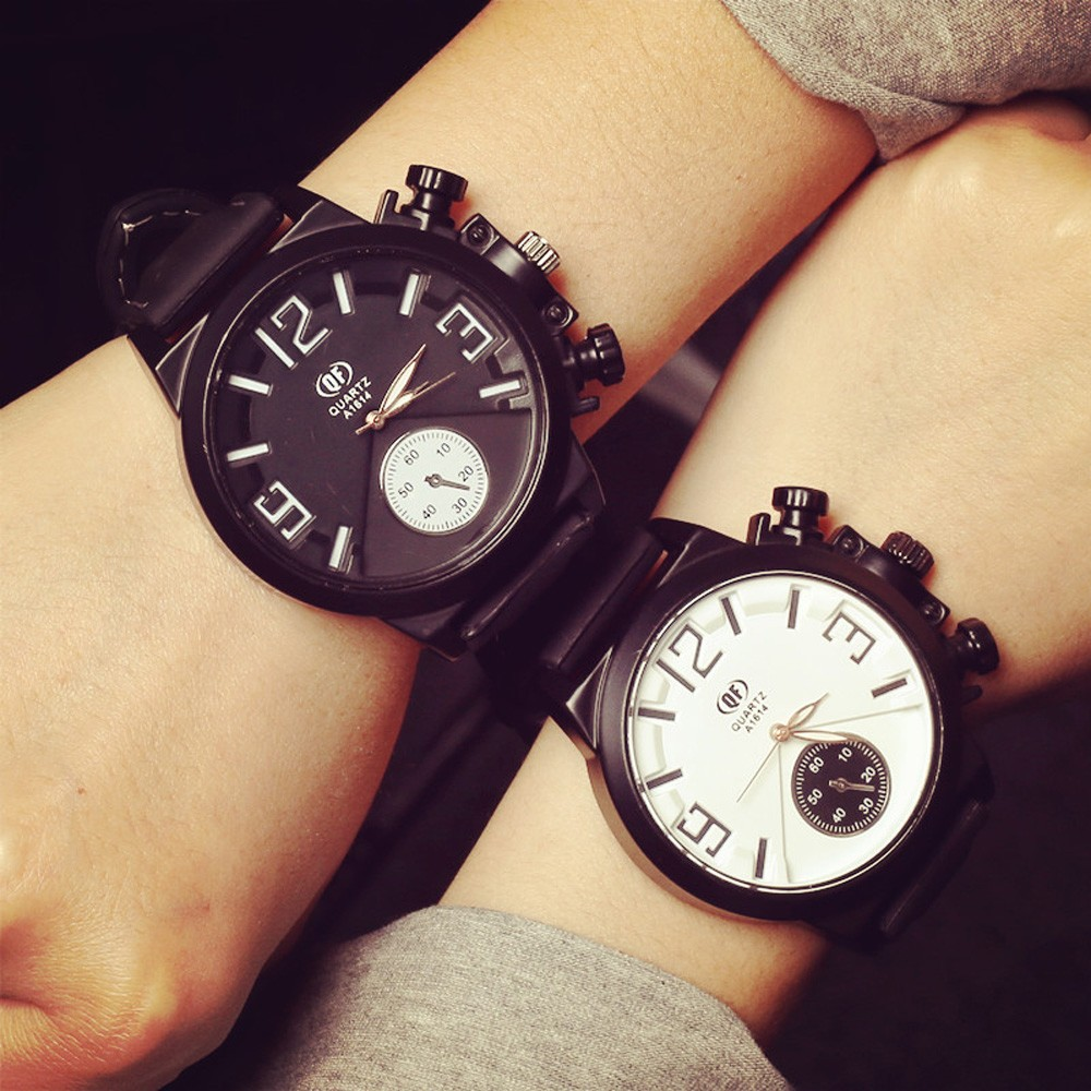 Lovers' Silicone Band Watches Mens Women Fashion Rubber Simple Couple Wrist Watch Ladies Casual Clock Quartz Watch Relogio #Ni popular black skull sports watch silicone bands touch screen led watch women mens free shipping gitt for lovers couple