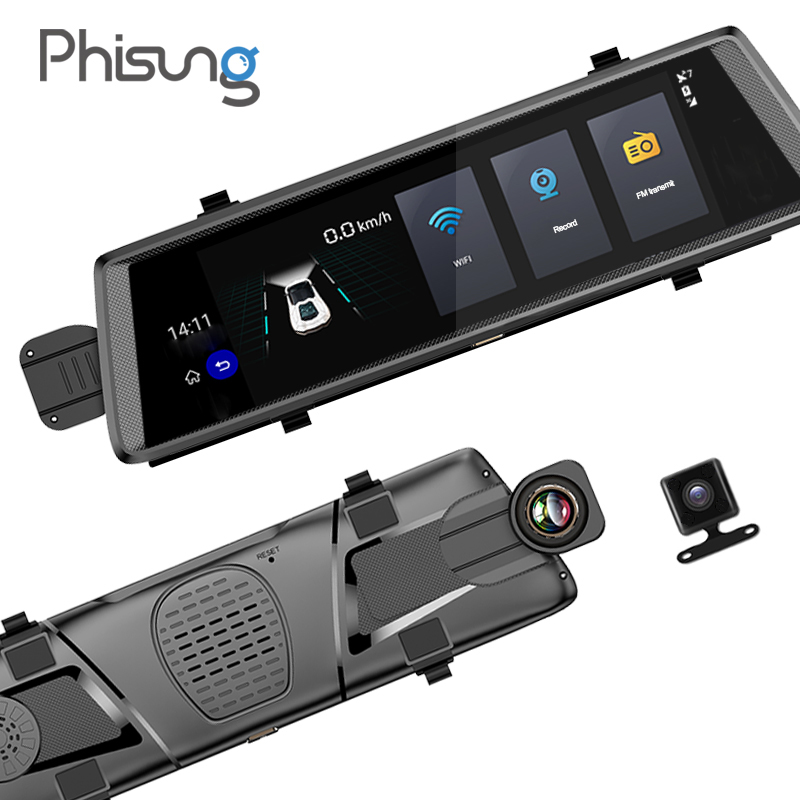 Phisung V6 voiture dvr 10 Tactile Android 5.0 GPS Navigateurs FHD 1080 p vidéo enregistreur miroir dvr WIFI 3g camara para automovil