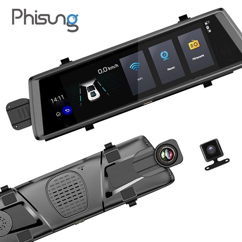 Phisung V6 voiture dvrs 10 tactile Android 5.0 GPS navigateurs FHD 1080 P enregistreur vidéo miroir dvr WIFI 3G camara para automovil