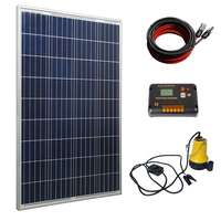 Solar Water Pump Kit: 100 Watts Poly Solar Panel & 12V Submersible Pump for Pond, Fountain, Water Feature, Hydroponics, Aquarium