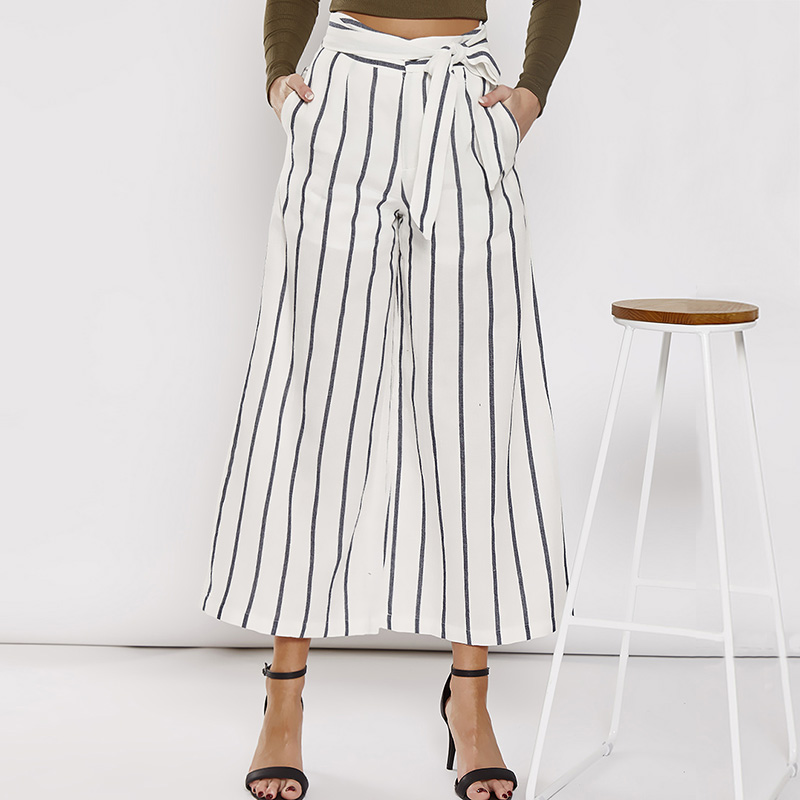 High Waist   Wide     Leg     Pants   Women Cotton Linen Casual Striped   Pants   With Belt Loose High Waisted Trousers Women Pantalon Femme