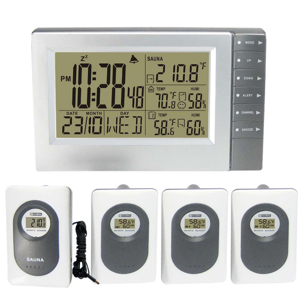 Digital Temperature Humidity weather station Indoor Weather Clock Wireless Outdoor Sensors with Sauna Transmitte Weather Station цена и фото