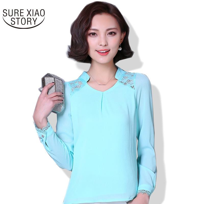 2018 new Spring summer Women   Blouses   Lace Plus Size Casual   shirts   Hollow Long-sleeved chiffon   blouse     Shirt   women Tops 377E 20