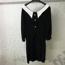 2019 New Ladies Dress Elegant Half Sleeve Women Vestidos Spring V-Neck Black Femme