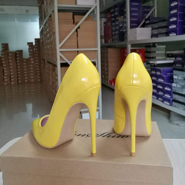 GENSHUO Yellow Pumps Shoes Women High Heels Pointed Toe Lacquer 10 12cm  Sexy Heels Party Wedding 420bbc38c06a